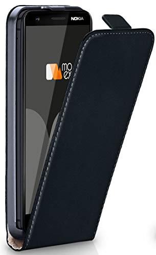 moex® Flip Case mit Magnetverschluss [Rundum-Schutz] passend für Nokia 3.1 Plus | 360° Handycover aus feinem Premium Kunst-Leder, Schwarz -