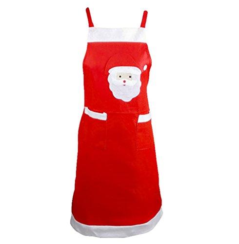 Doppel-schürze (CAOLATOR Weihnachtsmann Schürzen mit Doppel-Seitentaschen Weihnachtsfeier Koch Kellnerin Schürze Weihnachtsschmuck)