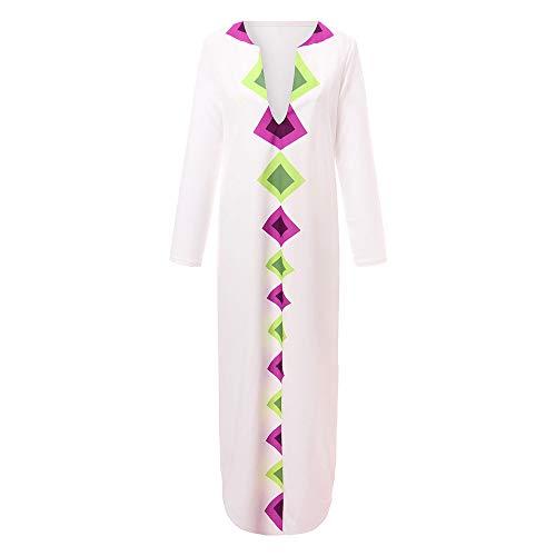 HWTOP Kleid Langarm Maxikleid mit V-Ausschnitt Saum Grosse Grössen Partykleid für Damen Baggy Kaftan Freizeitkleid Dress Lang mit Schlitz Ärmel, Weiß -