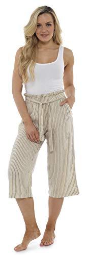 CityComfort Damen Papiertüte Taille 3/4 Lange Sommerhose aus Leinen | Ferien Outfit für Frauen | Trendy hohe Taille mit Falten umgeschnallt (38, Beige Streifen)