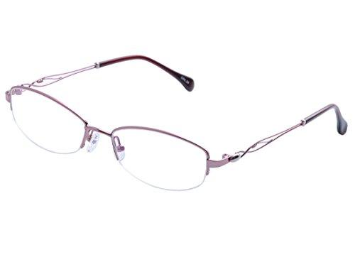 DEDING Damen Metalle Halbrande optische Gleitsichtige Brillenfassung (Rosa)