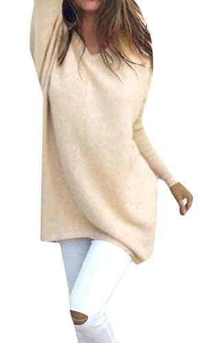 dahuo Womens Soft V Neck Knit Long Sleeve Pullover Thin Tunic Sweaters Apricot M - Cashmere Deep V-neck Sweater