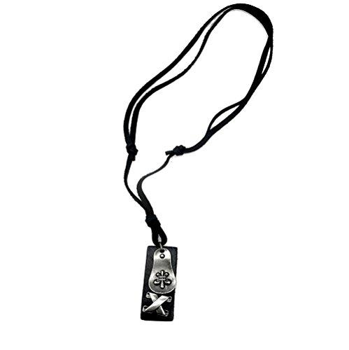 Akki Herren Halskette Silber mit Leder Schmuck anhänger Kette Edelstahl für Männer und Jungen Schöner Schmuckset Skull Kreuz Stern Totenkopf Ring Schwarze Farbe Surfer Biker Style Geflochten Lilie