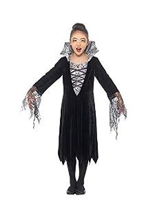 Smiffys 49828M - Disfraz de vampiro de araña para niñas, color negro y plateado, talla M de 7 a 9 años