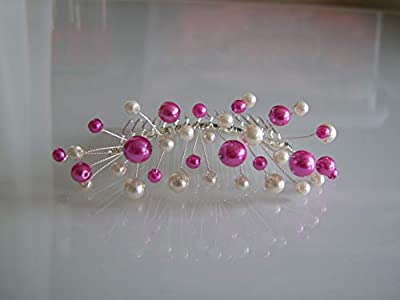 Accessoire de cheveux peigne Perles Mariée/Mariage Ivoire/Rose Fuchsia/Fushia/Crème/Blanc/Ecru/Beige clair p robe bijou original pas cher