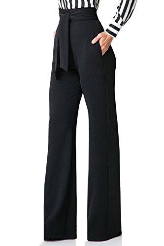 Jumojufol Donna Elegante Alto Vita Dritto Benda Tasche A Gambe Larghe Pantaloni Lunghi