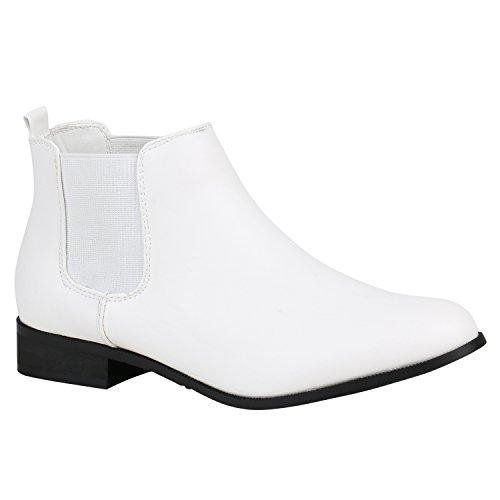 Stiefelparadies Damen Stiefeletten Velours Chelsea Boots Leder-Optik Booties London Style Übergrößen Gr. 36-42 Blockabsatz Schuhe Flandell Weiss Schwarz