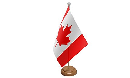 22,9 x 15,2 cm Canada canadien Drapeau Grande table de bureau avec base en bois et Pole Idéal pour les conférences de fête Bureau écran