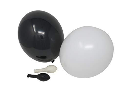 50 Luftballons je 25 schwarz & weiß Qualitätsballons 27 cm Ø (Standardgröße B85)