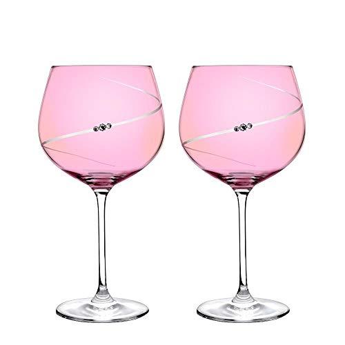 Portmeirion auris - set di 2 bicchieri da gin con cristalli swarovski, in confezione regalo foderata in seta, taglio a mano e lucidato, design elegante e contemporaneo