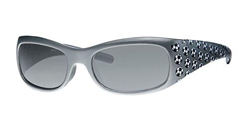 Dudes und DUDETTES Jungen Kids Kinder, die 100% UV-Schutz Objektive Sonnenbrille Silber Fußball mit gratis Halbstarre Schutzhülle & String Silber silber