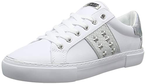 Guess Damen Gamer5/Active Lady/Leather LIK Sneaker, Weiß (White Silve), 39 EU