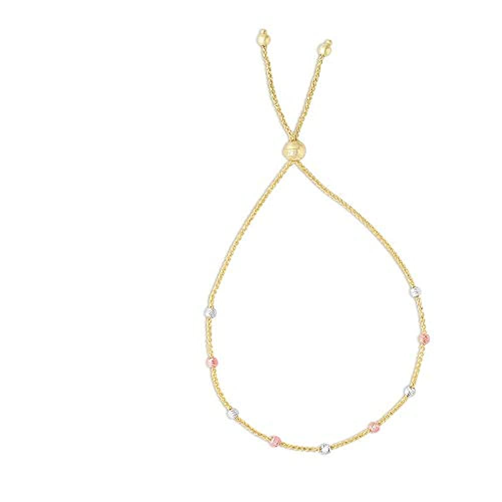 14ct WHT Rose Gold 5,4–1,2mm 3-clr Station Bead gelb Weizen Kette brclt adj-able Ball Fußkettchen–23C
