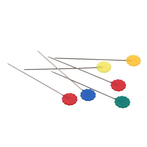 Jixing 100 pcs Couleurs mélangées Fleur DIY Aiguille à coudre Accessoires broches Outil Couture Crafts Pin avec Box 5 cm prune foncé