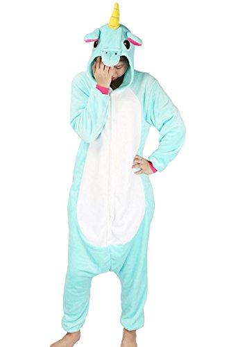 Minetom Flanell Karikatur Tier Pyjama Kostüm Für Halloween Karneval Fasching Unisex Erwachsene Schlafanzug Jumpsuit Anime Cosplay Einhorn Grün (Jungen Kostüme Für Halloween Pokemon)