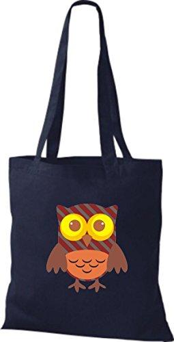 ShirtInStyle Jute Stoffbeutel Bunte Eule niedliche Tragetasche mit Punkte Karos streifen Owl Retro diverse Farbe, braun blau