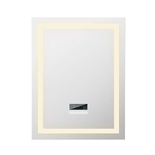 POPSPARKk Miroir Mural de Salle de Bains avec Deux Haut parleurs Bluetooth, contrôle Tactile Lumineux dimmable 600x800mm