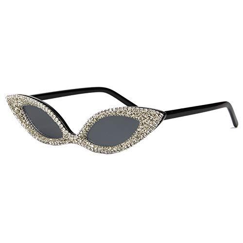 KONGYUER Sonnenbrillen, Brillen,Sonnenbrille Frauen Cat Eye Sonnenbrille Crystal Luxury Strass Niedliche Kleine Brille Für Damen Vintage Shades Uv400 Grau