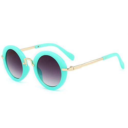 GAOHAITAO Black Floral Round Sunglasses Cute Baby Eyewear Children Fashion Shades Boys Girls Lovely Design, Cyan Frame