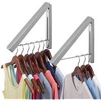 mDesign Juego de 2 colgadores de ropa abatibles para tendedero – Escuadra metálica para prendas que se envían a la tintorería – Perchero de pared plegable con barra para perchas de ropa – gris