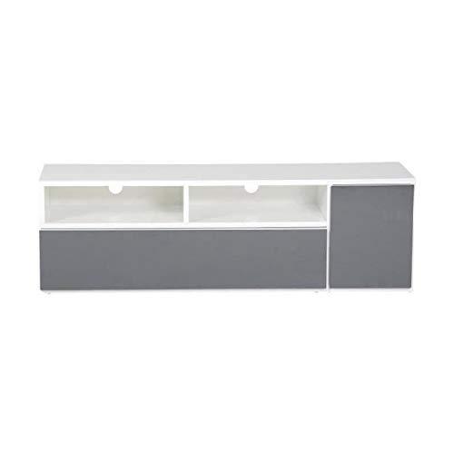 MOVE Meuble TV 1 porte contemporain laqué blanc et gris anthracite brillant - L 130 cm