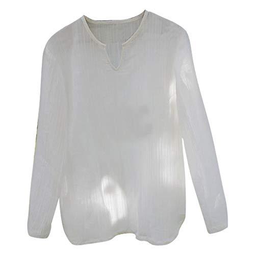 Transparent T Shirts für Herren/Skxinn Männer Sommer Casual V-Ausschnitt Langarm Loose Fashion Personality Shirt Oberteile Tops S-XXL Ausverkauf(Weiß,Small)