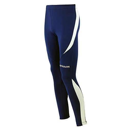 Airtracks Winter Funktions Laufhose Lang Pro/Damen oder Herren/Thermo Running Tight/Atmungsaktiv/Reflektoren - Navy-blau - S - Herren