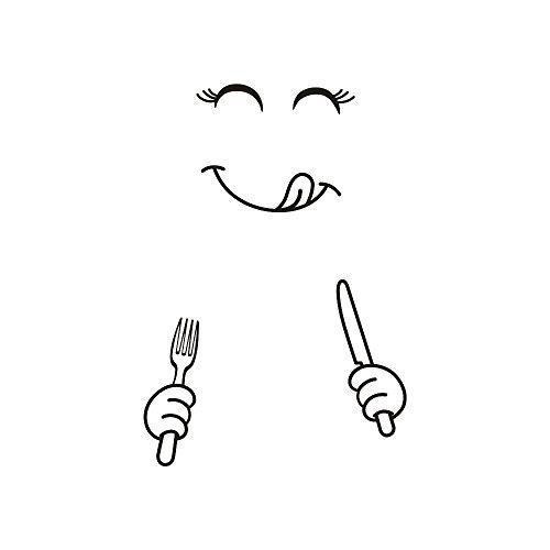 Mamum – Mignon Autocollant Réfrigérateur Heureux Délicieux Visage Cuisine Frigo Stickers Muraux Art