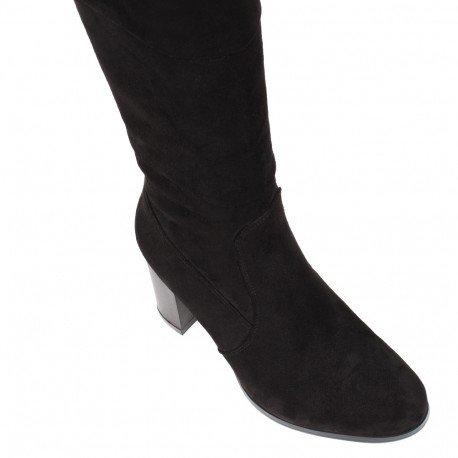 Ideal Shoes - Cuissardes effet daim avec bande élastique à l'arrière Velleda Noir