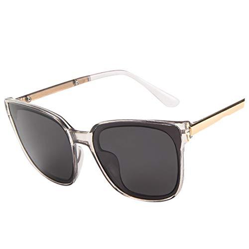 Oversized Sonnenbrille Polarisiert für Damen/Dorical Mode Über-Groß Designer Sonnenbrillen mit UV-400 Schutz Brille/Frauen Metall Rand Brillen Gespiegelte Linse Retro Sunglasses(Grau)