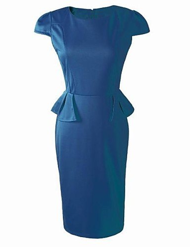 PU&PU Robe Aux femmes Gaine Vintage , Couleur Pleine Col Arrondi Mi-long Polyester / Spandex navy blue-xl