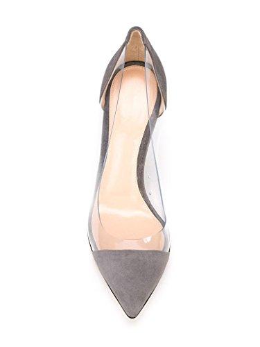 EDEFS -Escarpins Femmes - Aiguille Talon - Transparent Chaussures - A enfiler PVC Bout fermé - Taille Gris