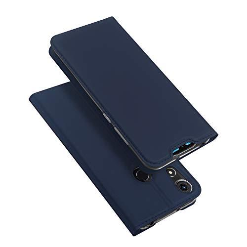 DUX DUCIS Coque Honor 8A, Premium Étui de Protection [Stand Support] [Porte-Cartes de Crédit] [Fermeture Magnétique] TPU Bumper Housse en Cuir pour Huawei Honor 8A (Bleu Profond)