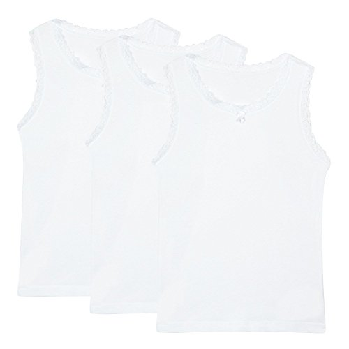 Debenhams Kids Girl's Pack Of Three White Lace Trimmed Vests