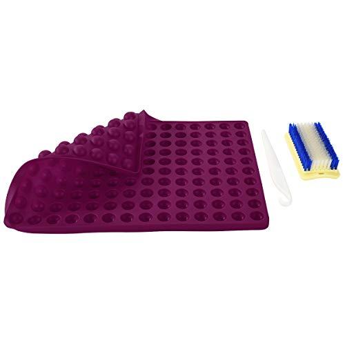 Antihaft-Silikon-Backmatte - 2 cm Halbkugel Backform für Hunde-Kekse Leckereien Welpen Cookies, Silikonform Schokolade Süßigkeiten, Fettreduzierung, wiederverwendbares Backgeschirr, BPA-frei (lila)