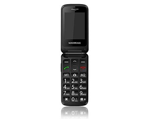 NORDMENDE FLIP100S Senioren-Handy mit SOS-Taste großer Tastatur Bluetooth MicroSD Mobiltelefon Weiss
