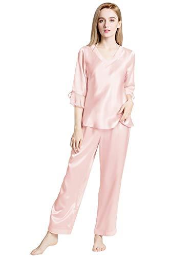ElleSilk Damen Seide Schlafanzug Lange, Seide Damenpyjama für Frauen, 22 Momme, Super Weich, Hellrosa, S -