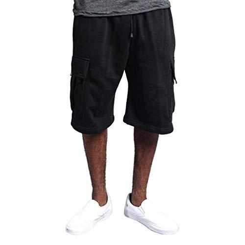Nahtlose Compression Shorts (Cargo Shorts Herren Chino Kurze Hose Sommer Bermuda Sport Jogging Training Stretch Shorts Fitness Vintage Regular Fit Sweatpants Baumwolle Qmber Werkzeugshorts mit Mehreren Taschen Overall(Black,M))