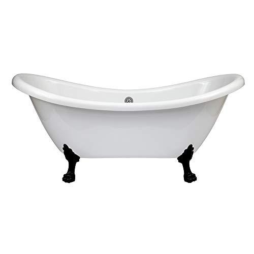 Hudson reed legend vasca da bagno freestanding con piedini a zampa di leone neri - acrilico bianco - design centro stanza vittoriano - 1750 x 720 x 785mm