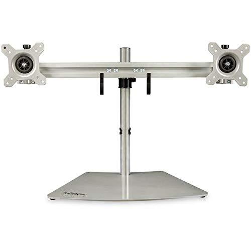 Ständer für Zwei Monitore, horizontal, für Bildschirme mit bis zu 61 cm (24 Zoll) VESA-Halterung, silberfarben -
