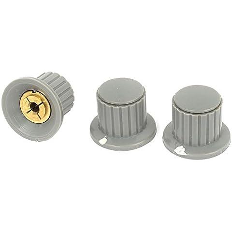 3pcs 4 mm Control de volumen de Split Diámetro del eje del potenciómetro mezclador Perillas Gray