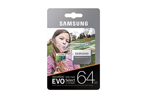 Samsung 64GB 100MB/s (U3) MicroSDXC EVO Select Memory Card with Adapter (MB-ME64GA/AM)