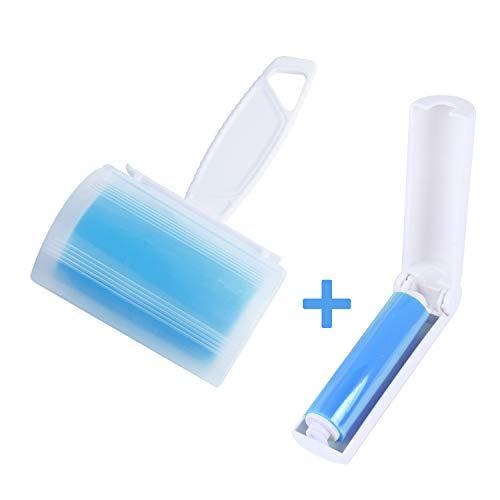 WOWGO (2pack) Rodillos pegajosos para atrapar pelusas, reutilizables y lavables. Rodillo con tapa y tamaño de viaje (azul)