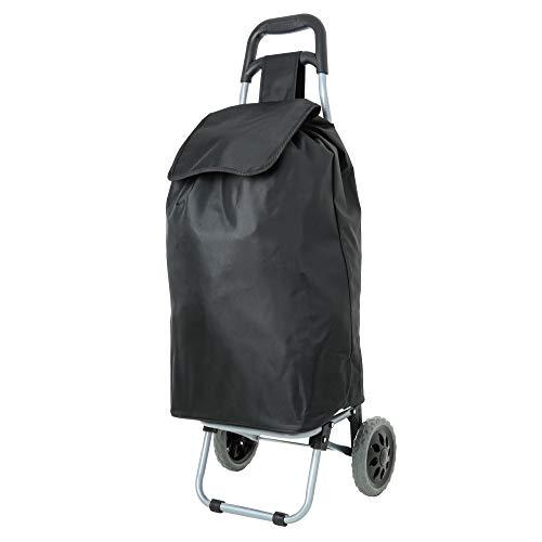 Eono Essentials Einkaufstrolley, zusammenklappbar, geringes Gewicht, 47l, mit 3-jähriger Garantie (Schwarz)