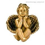 Serafinum Sitzender Engel Bronze Deko Figur - Angelus Nante / Braun