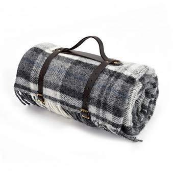 tweedmill Große Picknick-Decke, wasserdicht, mit Teppich, reine neue Wolle mit Leder, mit Schultergurt, Cottage Grau