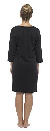 Femmes En Coton Manches Longues imprimé chemise de nuit Robe de nuit Noir