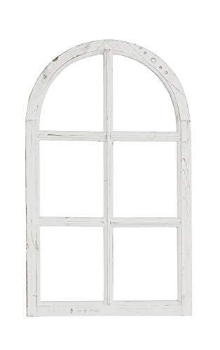 fensterrahmen deko fenster Nostalgie Holz Deko Fenster groß Shabby Vintage weiß gewischt halbrund ca. 60 x 2 x 100 cm hoch