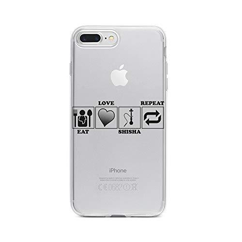licaso Apple iPhone 8 Plus Handyhülle Smartphone Apple Case aus TPU mit Eat, Love Shisha, Replay Print Motiv Slim Design Transparent Cover Schutz Hülle Protector Soft Aufdruck Lustig Funny Druck