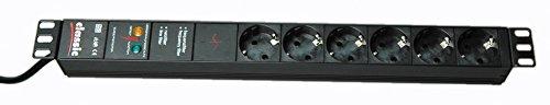 """Bachmann 333.536 Steckdosenleiste 19\"""" 1HE 6xSchutzkontaktsteckdosen schwarz 1xGerätevollschutz Zuleitung 2,0m, 230 V"""